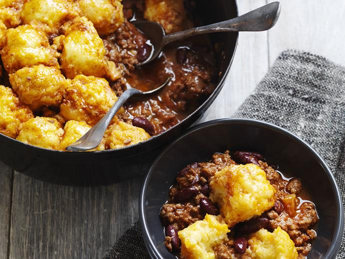 "Spicy [Southern-style beef with homemade cornbread dumplings.](https://www.womensweeklyfood.com.au/recipes/chilli-beef-with-cornbread-dumplings-3594|target=""_blank"")"