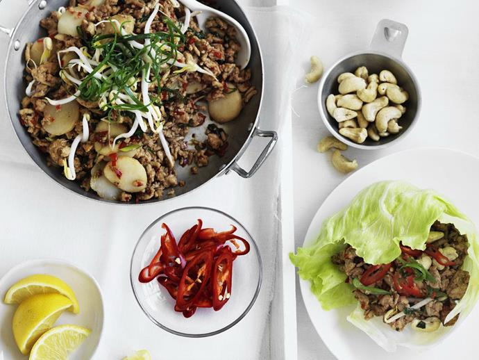 """**[Chilli chicken sang choy bow](https://www.womensweeklyfood.com.au/recipes/chilli-chicken-sang-choy-bow-8849