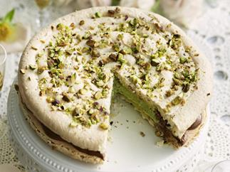 macaroon with pistachio cream and chocolate mousse