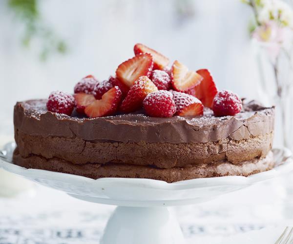 Chocolate Pomegranate Cloud Cake