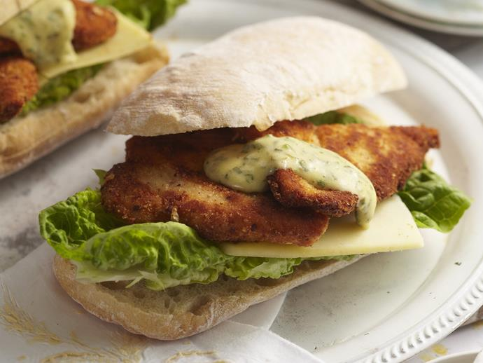 "[Chicken schnitzel rolls with herb mayonnaise recipe.](https://www.womensweeklyfood.com.au/recipes/chicken-schnitzel-rolls-with-herb-mayonnaise-8875|target=""_blank"")"