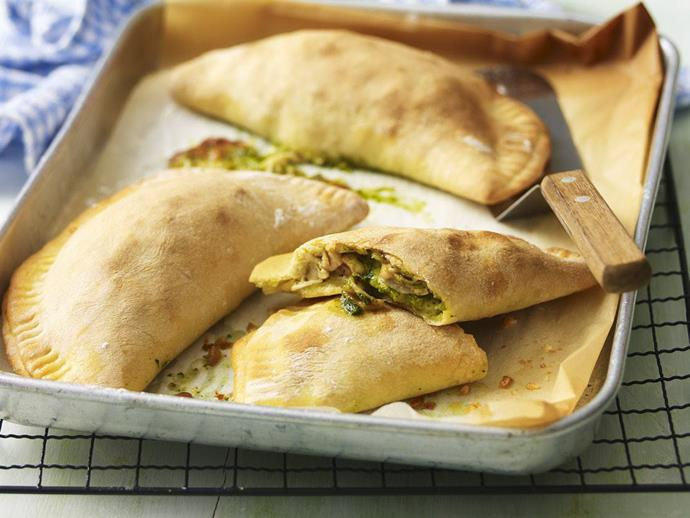 "Use up leftover chicken in the these [pesto chicken turnovers](https://www.womensweeklyfood.com.au/recipes/pesto-chicken-turnovers-3306|target=""_blank"") for a delicious lunch idea."