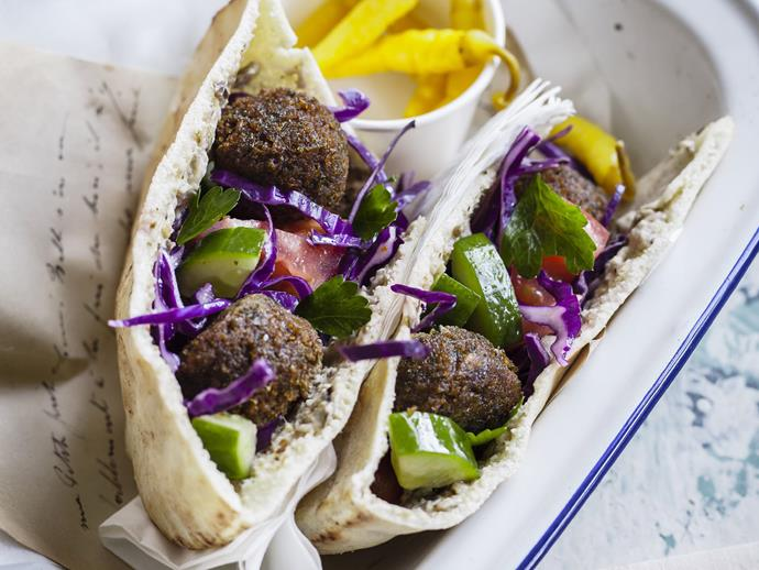 "**[Falafel and cabbage salad pockets](https://www.womensweeklyfood.com.au/recipes/falafel-and-cabbage-salad-pockets-8910|target=""_blank"")**  These easy vegetarian pita pockets will be gobbled up by the whole family."