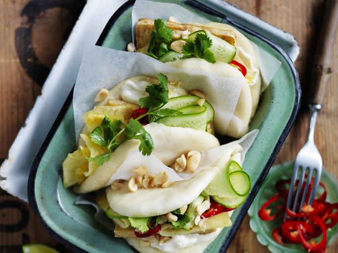 "**[Spiced tofu bao with pineapple cucumber salad](https://www.womensweeklyfood.com.au/recipes/spiced-tofu-bao-with-pineapple-cucumber-salad-8925|target=""_blank"")**  Bao are a form of steamed Chinese buns, adapted by migrants in many other Asian countries."