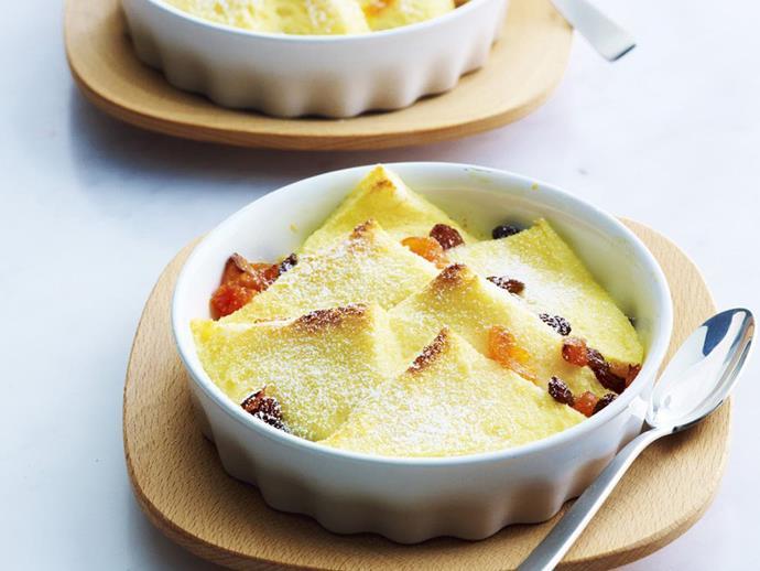 "**[Sultana & apricot custard pudding](https://www.womensweeklyfood.com.au/recipes/sultana-and-apricot-custard-pudding-3331|target=""_blank"")**"