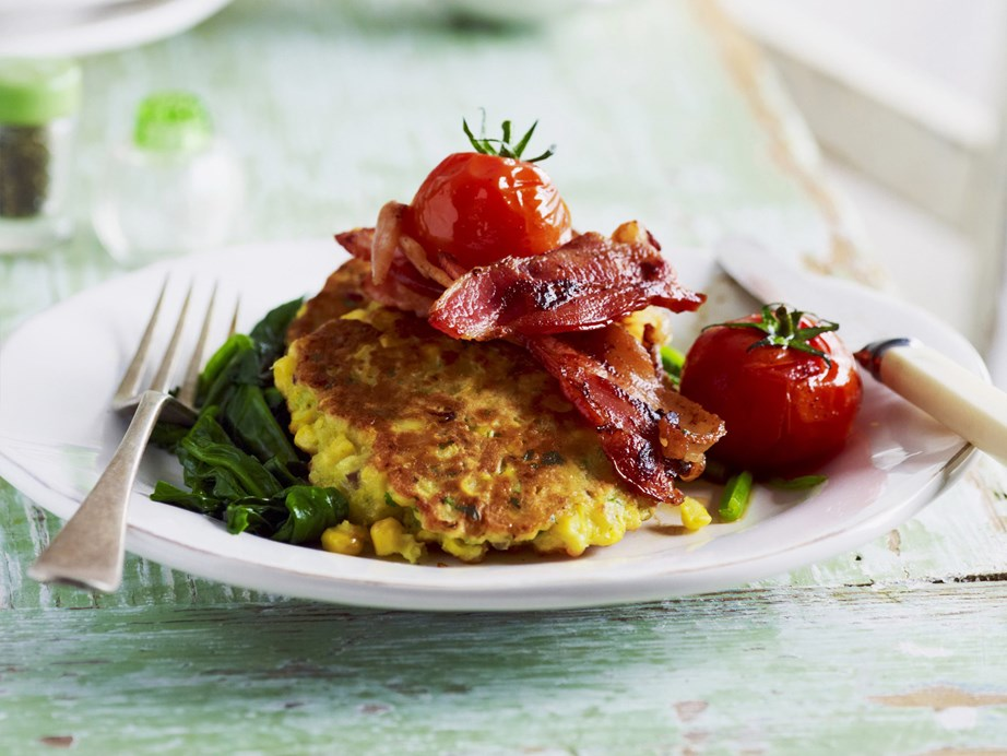 """Tasty wholesome **[corn fritters with crispy bacon and hearty mushrooms](https://www.womensweeklyfood.com.au/recipes/sweet-corn-fritters-3336