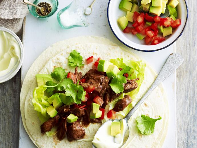 "This shredded [beef tacos recipe with slow cooked beef](https://www.womensweeklyfood.com.au/recipes/shredded-beef-tacos-3375|target=""_blank"") is a midweek dinner superstar, packed with flavour and simple to throw together."