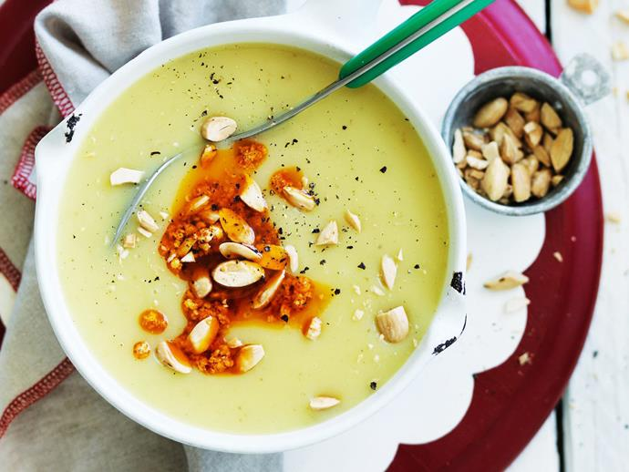 """**[Potato soup with capsicum & almonds](http://www.womensweeklyfood.com.au/recipes/potato-soup-with-capsicum-and-almonds-3406