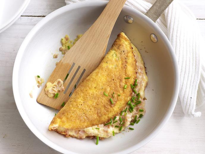 "**[Cheesy ham omelette](https://www.womensweeklyfood.com.au/recipes/cheesy-ham-omelette-8497|target=""_blank"")**  Nothing beats a simple omelette packed with salty ham and oozing cheese for a simple breakfast or easy lunch."