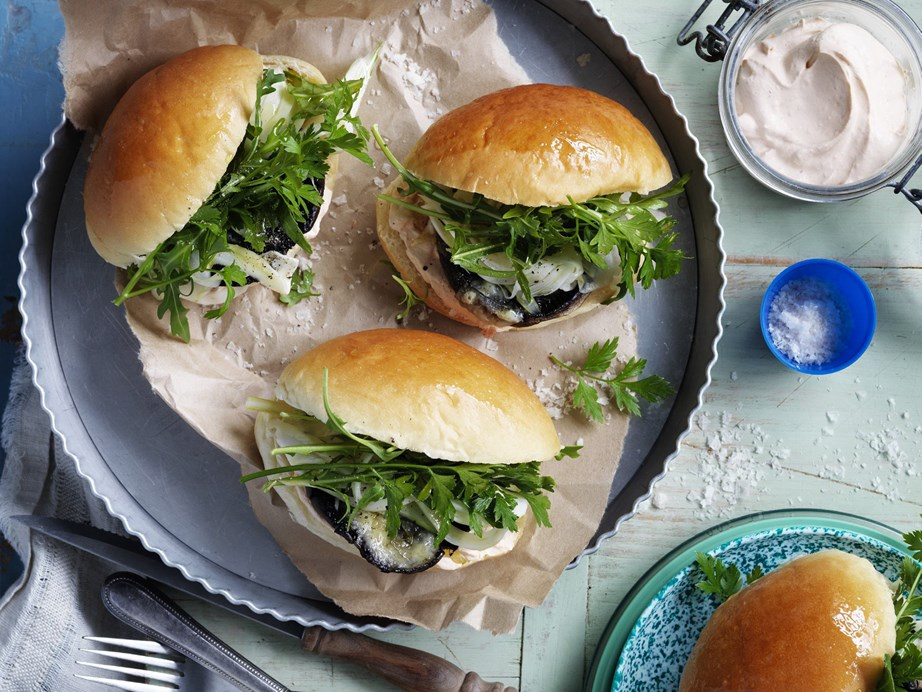 """**[Mushroom sliders with pickled fennel and harissa creme fraiche](https://www.womensweeklyfood.com.au/recipes/mushroom-sliders-with-pickled-fennel-and-harissa-creme-fraiche-28522