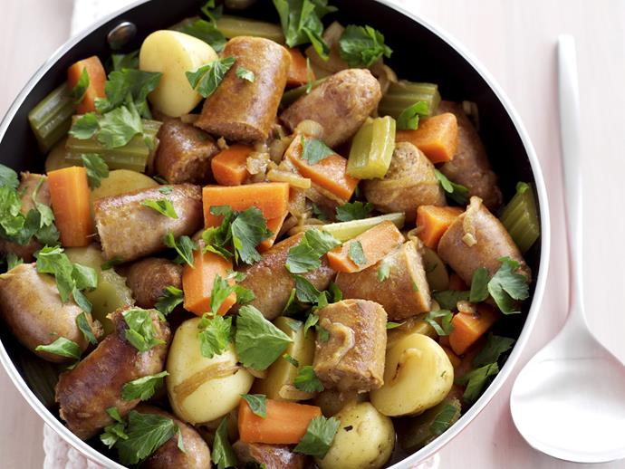 "This one-pot [curried sausages](https://www.womensweeklyfood.com.au/recipes/curried-sausages-8527|target=""_blank"") recipe is as easy as it is tasty."