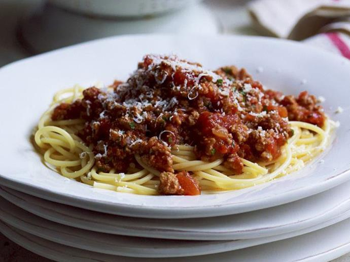 "**[Best-ever bolognese sauce](https://www.womensweeklyfood.com.au/recipes/best-ever-bolognese-sauce-8559|target=""_blank"")**"