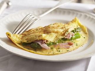 cheesy leg ham and asparagus omelettes