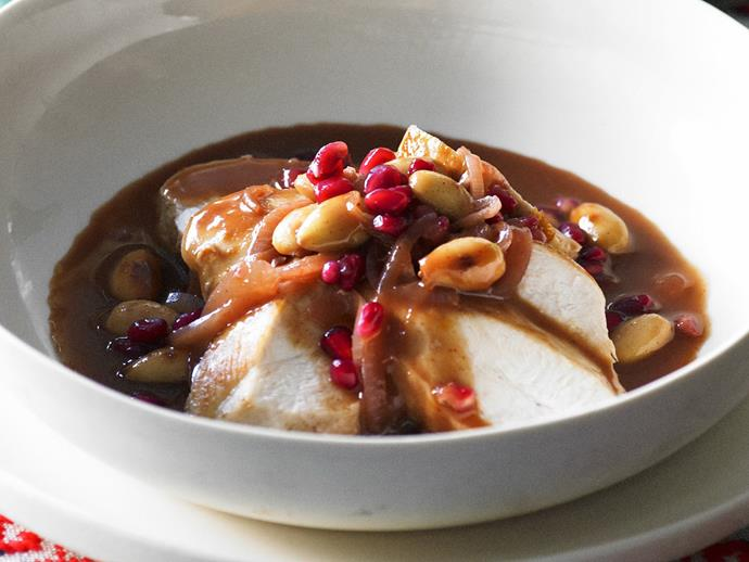 """**[Chicken in almond pomegranate sauce](https://www.womensweeklyfood.com.au/recipes/chicken-in-almond-pomegranate-sauce-8593