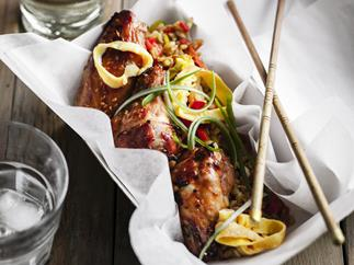 sticky chicken wings with fried brown rice