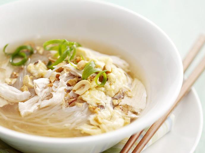 "**[Egg drop soup](https://www.womensweeklyfood.com.au/recipes/egg-drop-soup-8616|target=""_blank"")**"