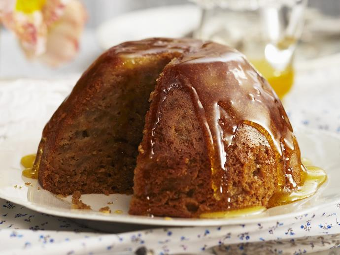 """**[Spicy pear steamed pudding with orange syrup](https://www.womensweeklyfood.com.au/recipes/spicy-pear-steamed-pudding-with-orange-syrup-3465