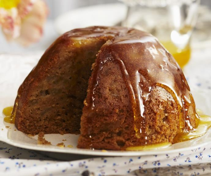 SPICY PEAR STEAMED PUDDING with Orange Syrup