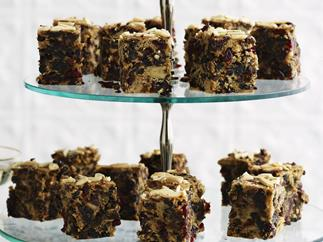 chocolate and cranberry spiced fruit cake