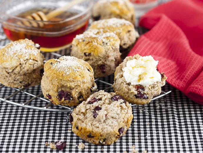 "**[Cranberry oatmeal and cinnamon scones](https://www.womensweeklyfood.com.au/recipes/cranberry-oatmeal-and-cinnamon-scones-8075|target=""_blank"")**"
