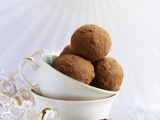 chocolate orange truffles with boozy prunes and ginger