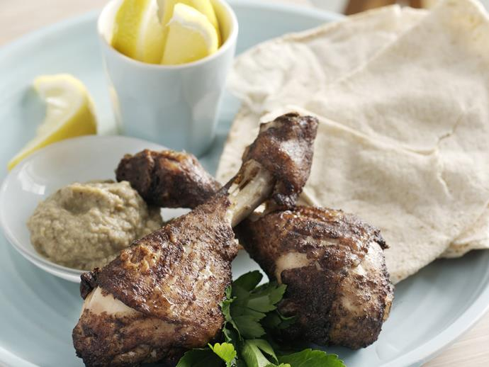 "**[Lebanese-spiced drumsticks with baba ghanoush](https://www.womensweeklyfood.com.au/recipes/lebanese-spiced-drumsticks-with-baba-ghanoush-8104|target=""_blank"")**"