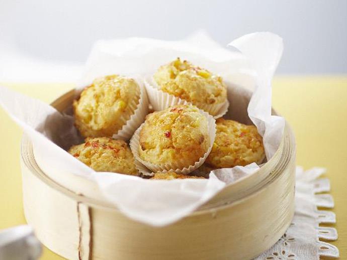"**[Cream cheese, corn and sweet chilli muffins](https://www.womensweeklyfood.com.au/recipes/cream-cheese-corn-and-sweet-chilli-muffins-8147|target=""_blank"")**"
