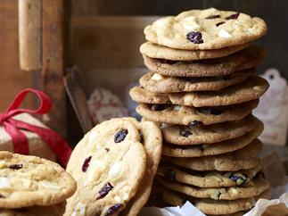 giant macadamia, white chocolate and cranberry cookies