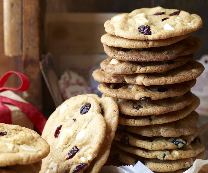 giant macadamia, white chocolate and cranberry cookies