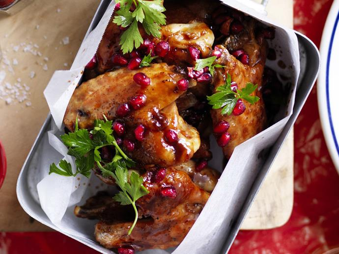 "**[Sticky pomegranate barbecued chicken wings](https://www.womensweeklyfood.com.au/recipes/sticky-pomegranate-barbecued-chicken-wings-3039|target=""_blank"")**"