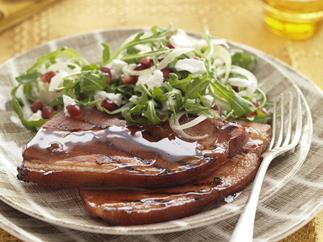 pineapple glazed ham with pomegranate & fennel salad