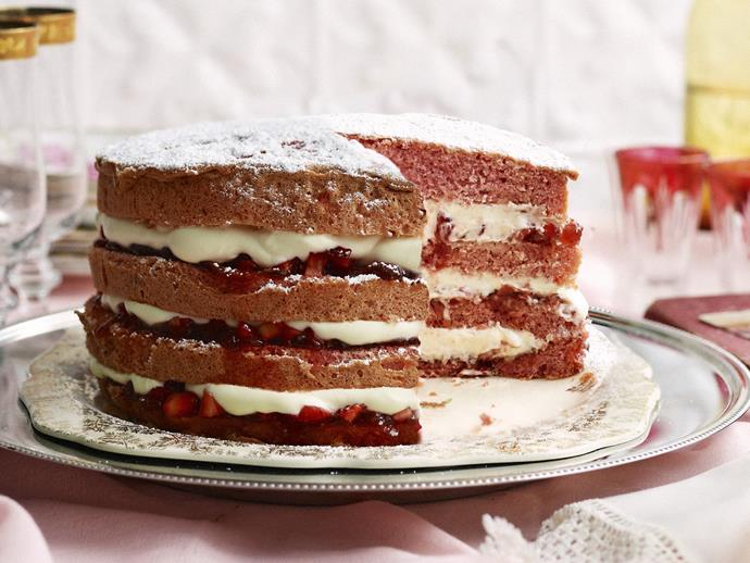 "A light and fluffy [strawberries and cream sponge cake](https://www.womensweeklyfood.com.au/recipes/strawberries-and-cream-sponge-layer-cake-3093|target=""_blank"") with visually stunning layers."