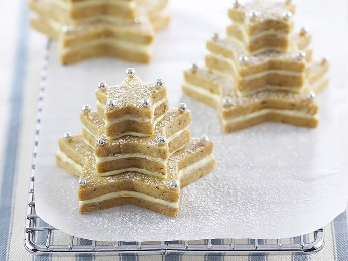 "**[Hazelnut shortbread trees](https://www.womensweeklyfood.com.au/recipes/hazelnut-shortbread-trees-8306|target=""_blank"")**  Sandwiched with brandy butter cream, these stacked hazelnut and orange spice cookies make a stunning Christmas treat."