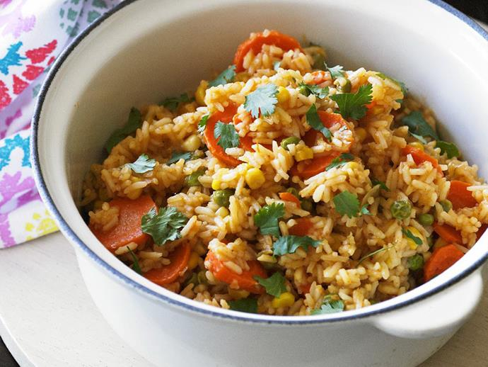 "**[Mexican rice](https://www.womensweeklyfood.com.au/recipes/mexican-rice-3117|target=""_blank"")**  Vegie-packed and full of flavour."