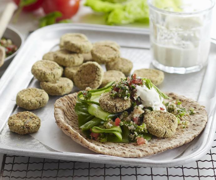 felafel rolls with tabbouleh