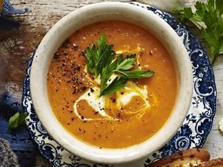 pumpkin soup with honey fetta croûtons
