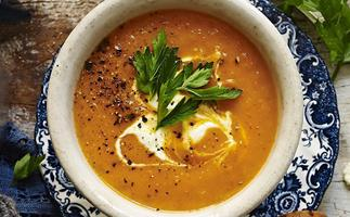 pumpkin soup with honey fetta croûtons