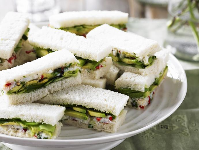 """**[Crab, avocado and cucumber sandwiches](https://www.womensweeklyfood.com.au/recipes/crab-avocado-and-cucumber-sandwiches-7744