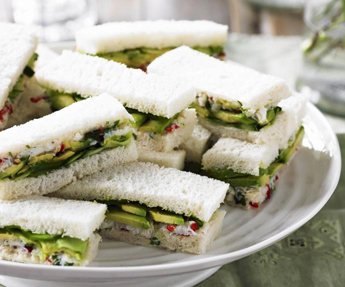 crab salad, avocado and cucumber sandwiches