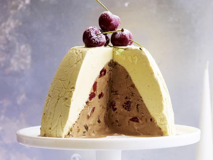 "This sweet and [creamy Christmas pudding](https://www.womensweeklyfood.com.au/recipes/frozen-christmas-pudding-7756|target=""_blank"") pairs two types of homemade ice-cream to create a delicious frozen dessert to serve during the festive season. You'll even get yummy chunks of dried fruit and dark chocolate with each bite."