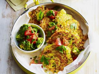 zucchini, carrot and corn fritters with avocado and coriander salsa