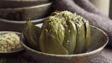 Artichokes with garlic anchovy crumbs