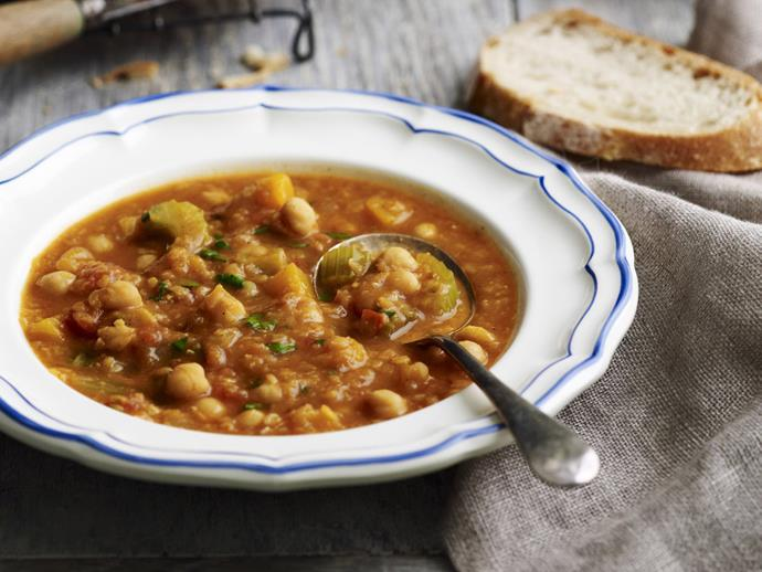 "**[Pressure-cooker spicy chickpea and lentil soup](http://www.womensweeklyfood.com.au/recipes/pressure-cooker-spicy-chickpea-and-lentil-soup-3159|target=""_blank"")**  Create the flavours and textures of a slow-cooked meal in under an hour by using your pressure cooker. This delicious chickpea and lentil soup can be ready in no time at all, perfect for a cool weeknight dinner."
