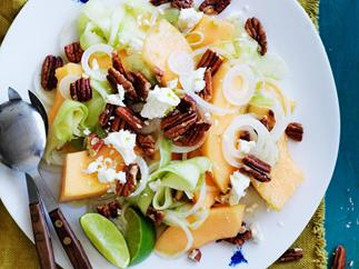 melon, cucumber and white onion salad