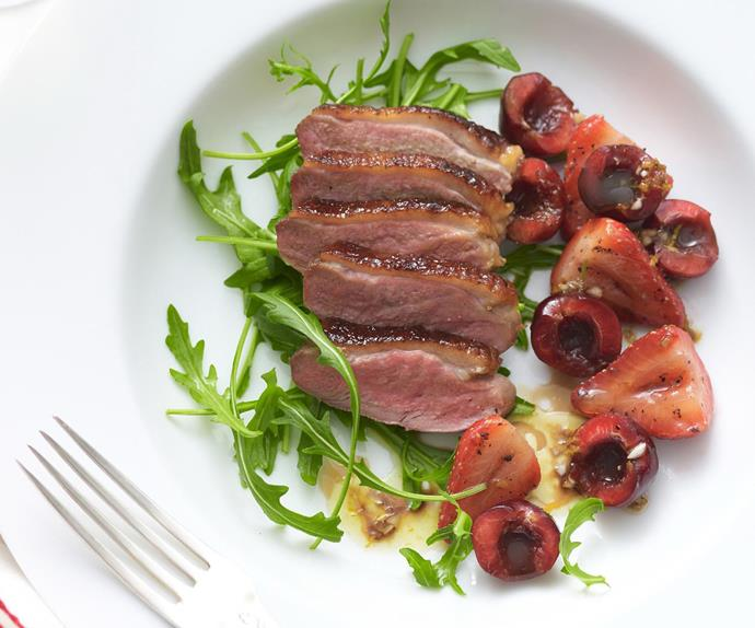 MARINATED DUCK with Peppered Strawberries