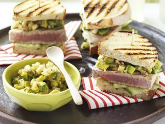 toasted tuna sandwiches with pineapple & avocado salsa