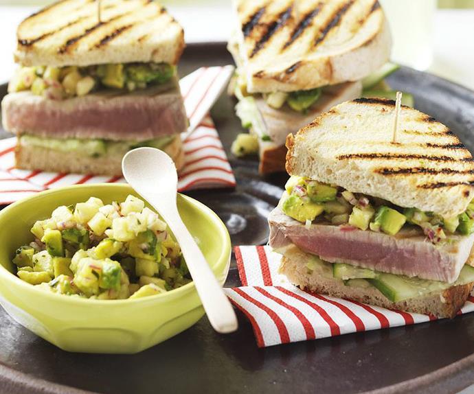toasted tuna sandwiches with pineapple & avocado salsa
