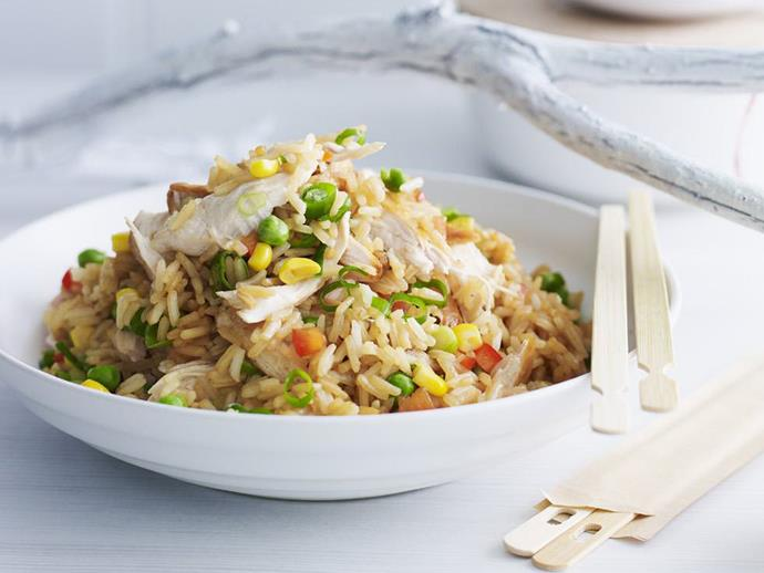 """**[Chicken fried rice](http://www.womensweeklyfood.com.au/recipes/chicken-fried-rice-7935