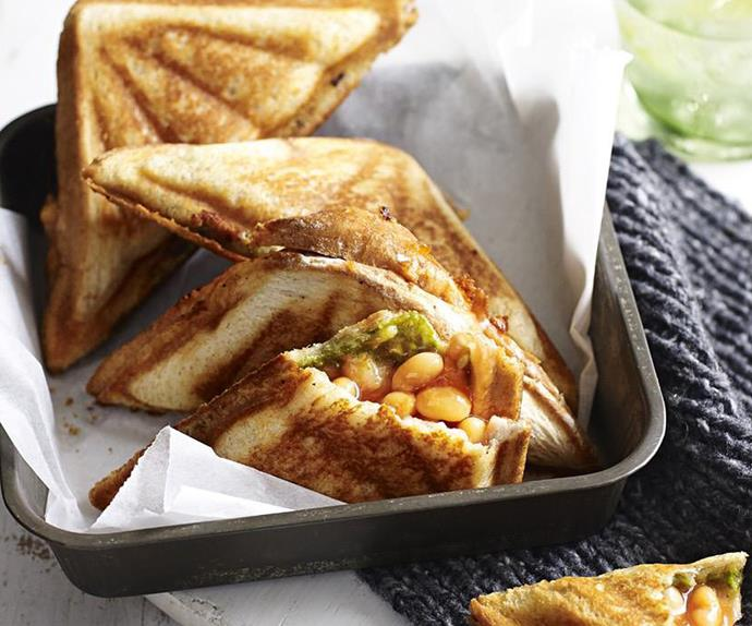 baked beans, pesto and smoked cheddar jaffle
