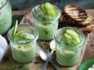 =CChilled Cucumber Soup withwhipped fettatoasts